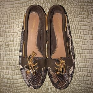 Sperry Top-Slider Python 🐍 Brown Boat Shoes - 7.5